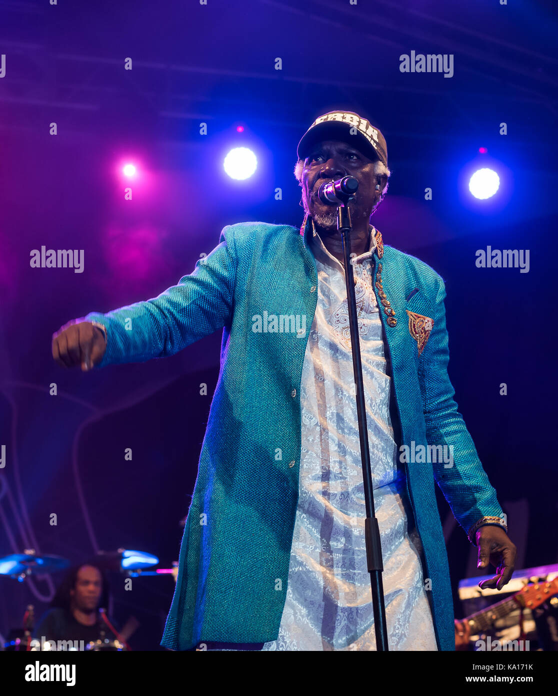NIS, SERBIA-AUGUST 11, 2017: Alpha Blondy and Solar System famous reggae singer and songwriter performing live at - Stock Image
