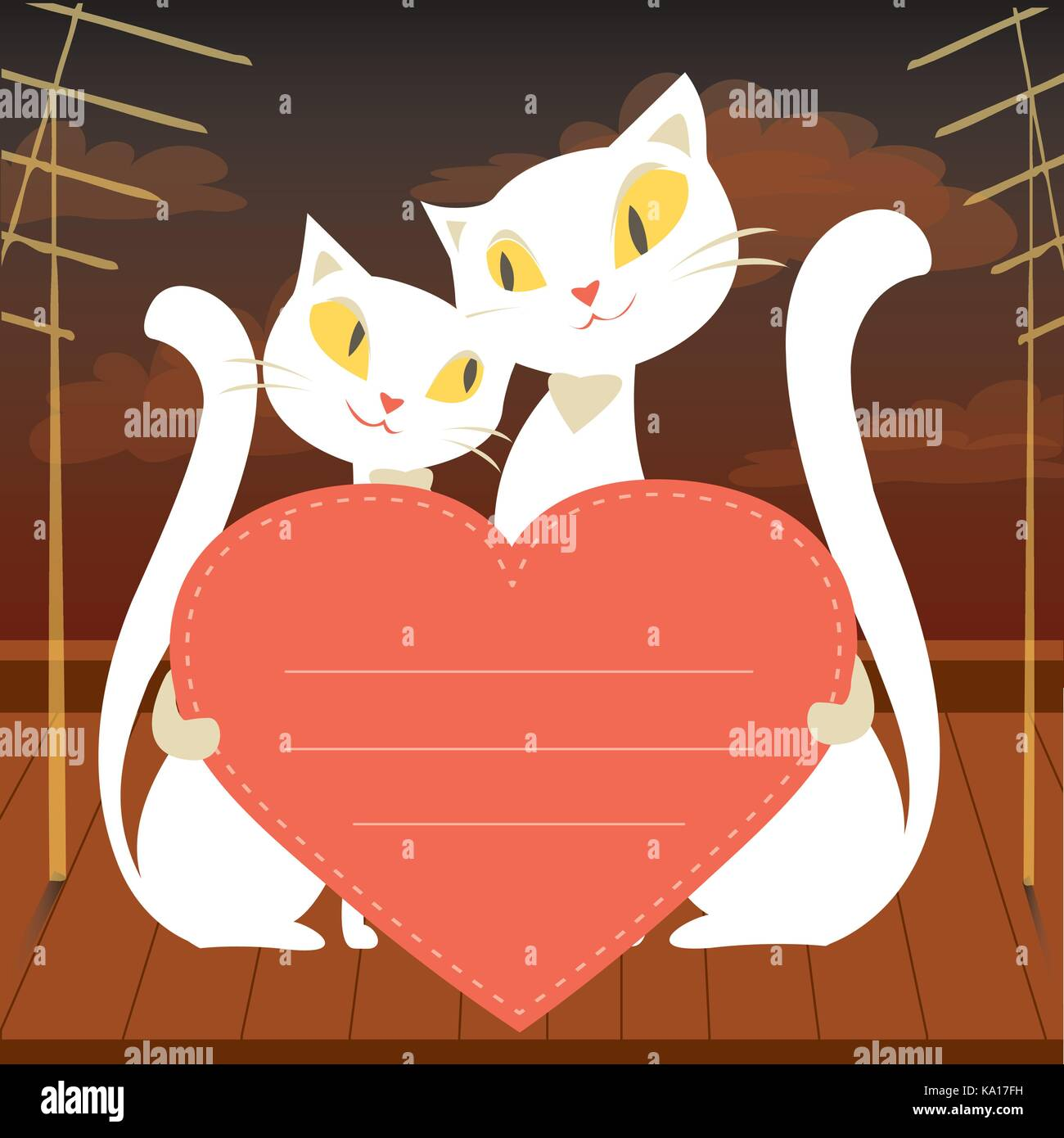 f4c6972713a Valentine Card Cats Love Pink Stock Photos   Valentine Card Cats ...