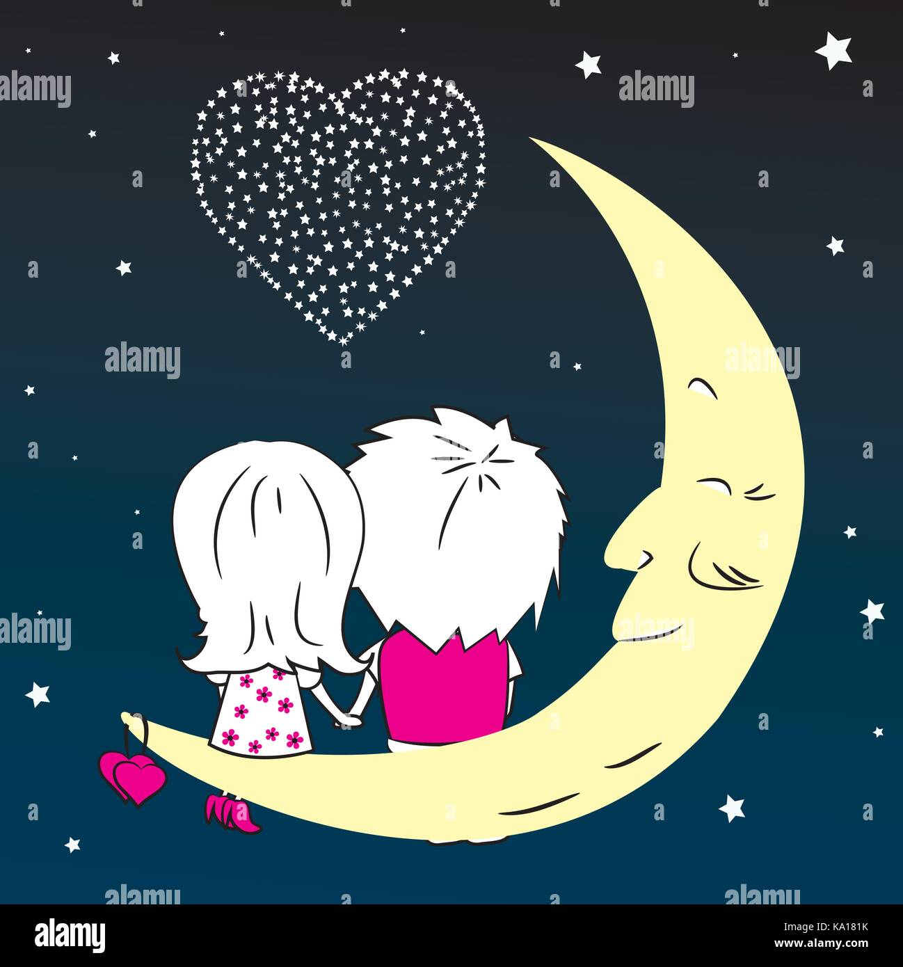 Loving couple man and woman sitting on the moon in the night city, vector - Stock Vector