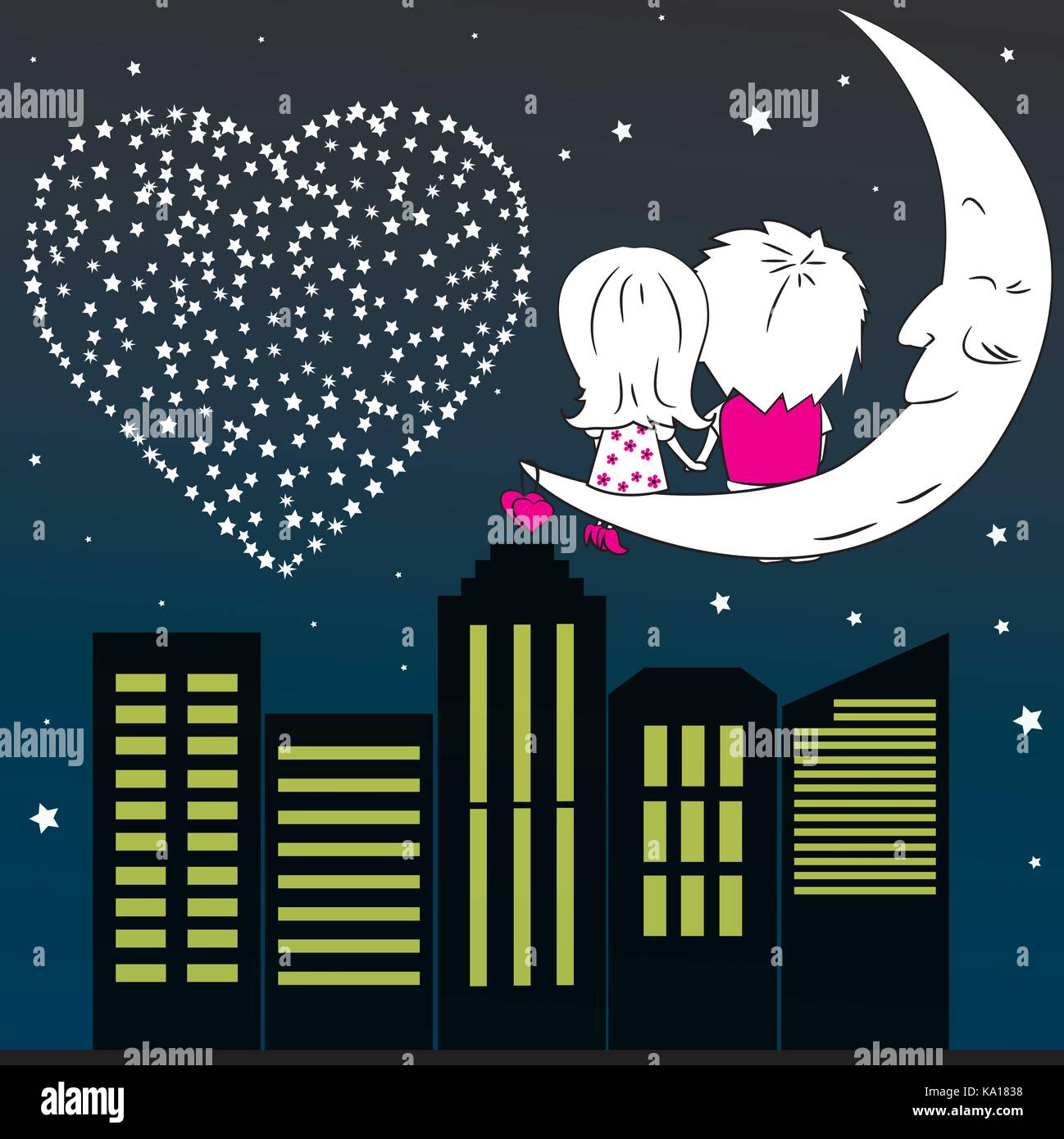 Loving couple man and woman sitting on the moon in the night city,vector - Stock Vector