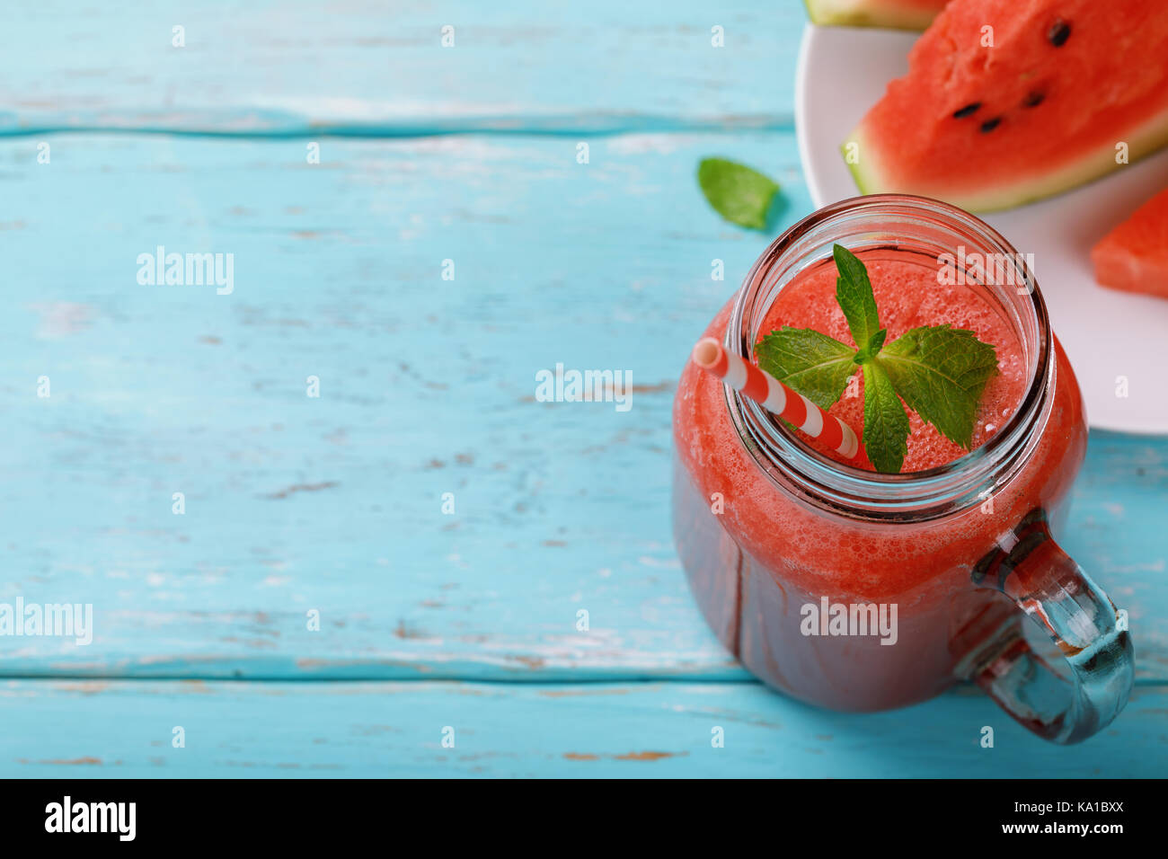 Freshly made smoothies from watermelon with space for text - Stock Image