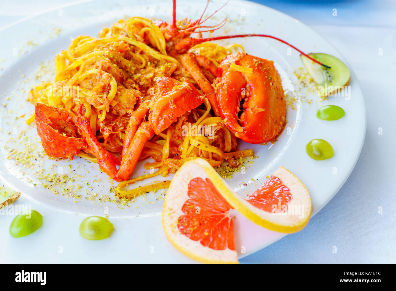 delicious meat italian pasta with crab - Stock Image