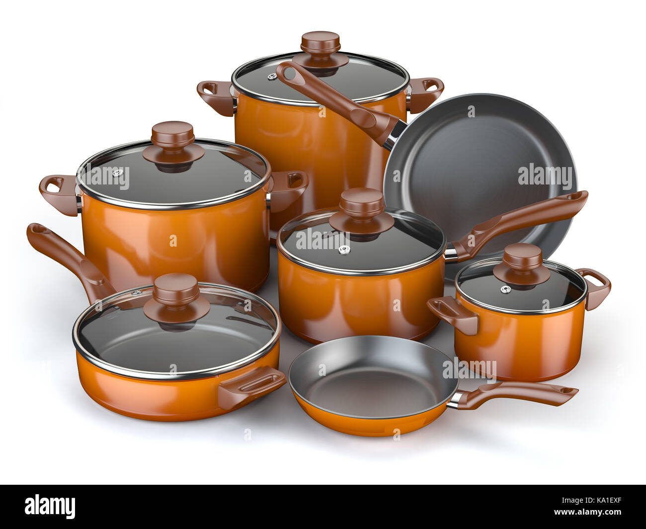 Pots and pans. Set of cooking kitchen utensils and cookware ...