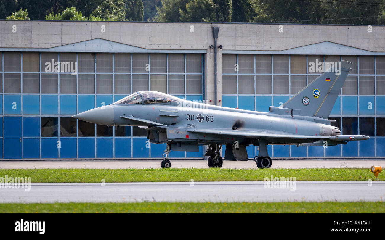 Eurofighter Typhoon from the German Air Force, Sion Airshow, Sion, Valais, Switzerland - Stock Image