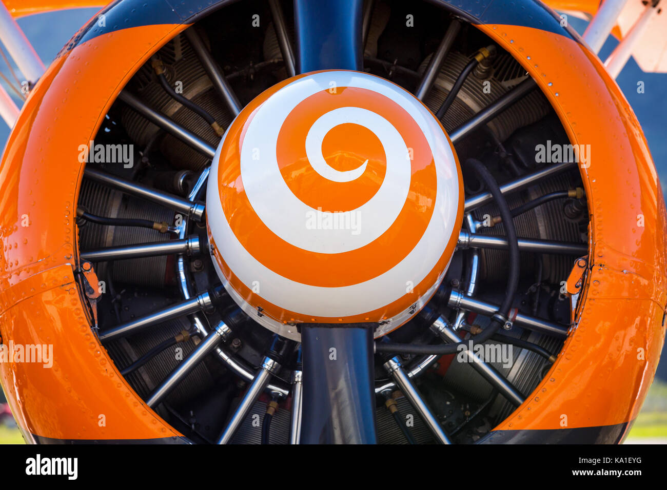 Close-up of a plane propeller, Sion Airshow, Sion, Valais, Switzerland - Stock Image