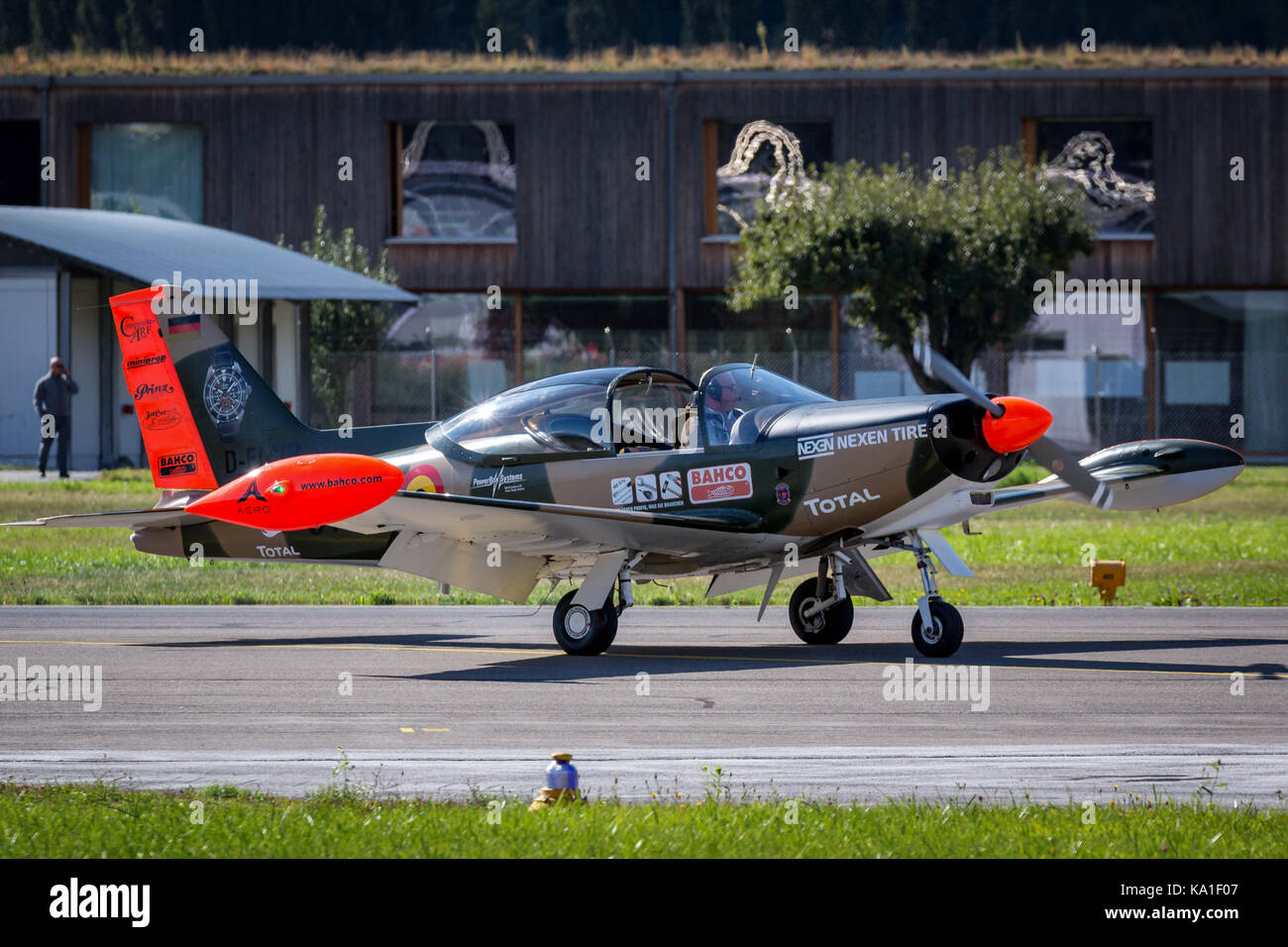 A Siai Marchetti SF-260 at Breitling Sion Airshow, Valais, Switzerland - Stock Image