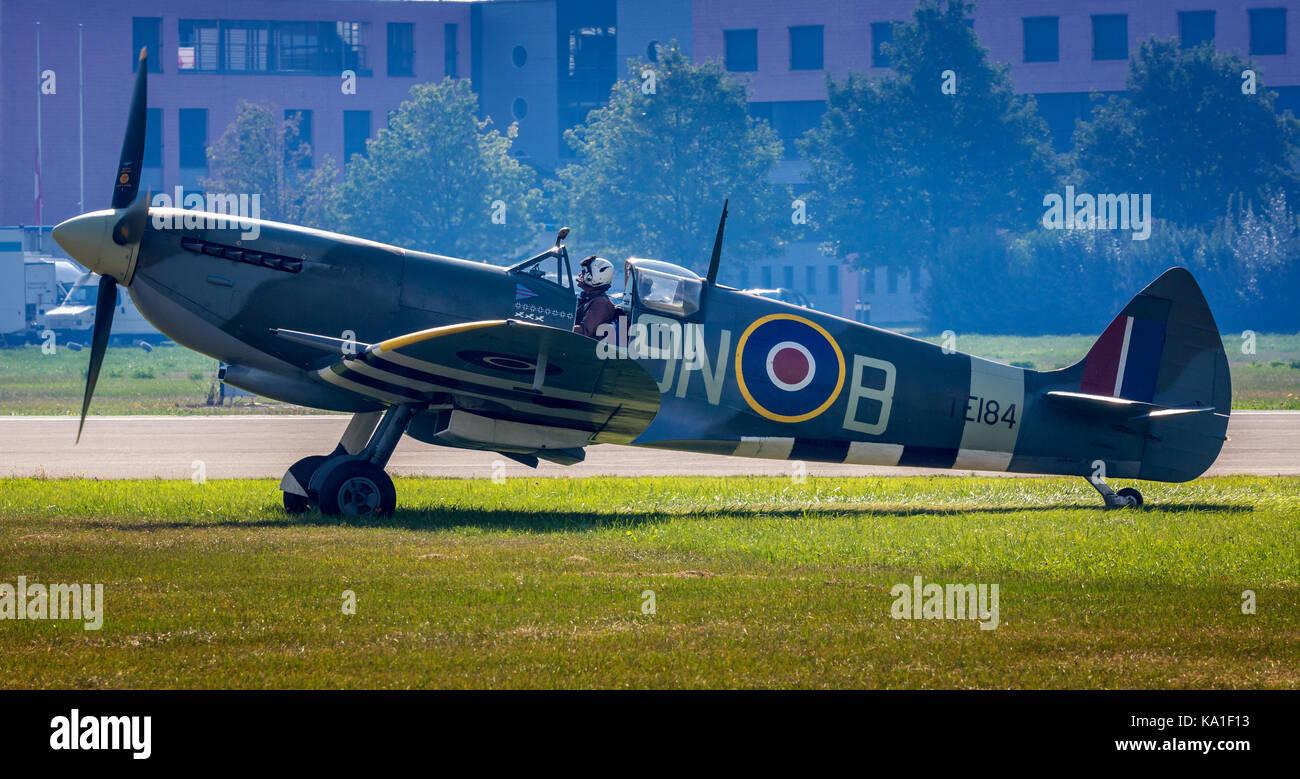 Spitfire MK IX, Sion Airshow, Sion, Valais, Switzerland - Stock Image