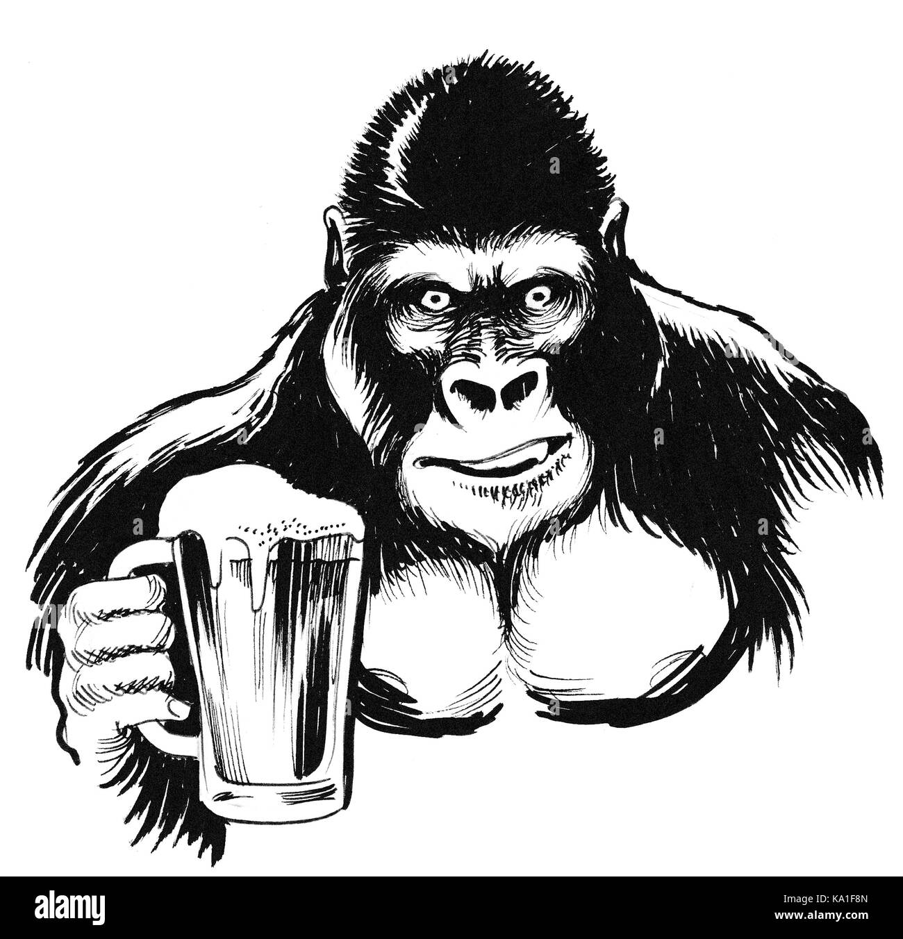 Gorilla Drawing Cut Out Stock Images & Pictures - Alamy