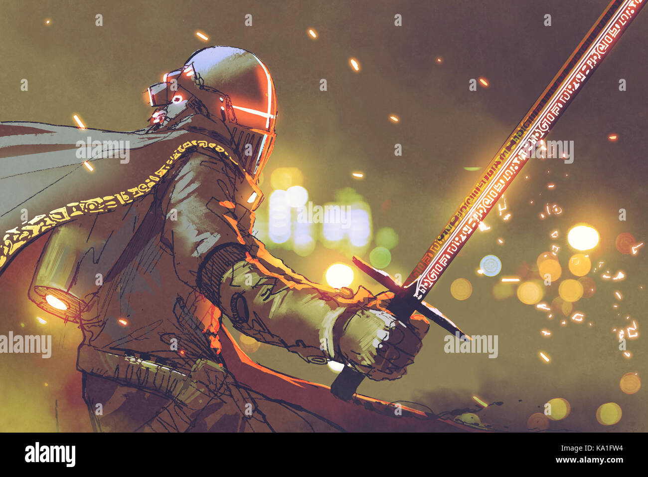 sci-fi character of astro-knight in futuristic armour holding magic sword, digital art style, illustration painting - Stock Image