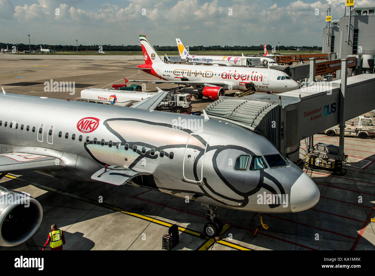 DUESSELDORF, GERMANY 03.09.2017 Aircraft of the Niki Airlines Airberlin partner at the airport - Stock Image