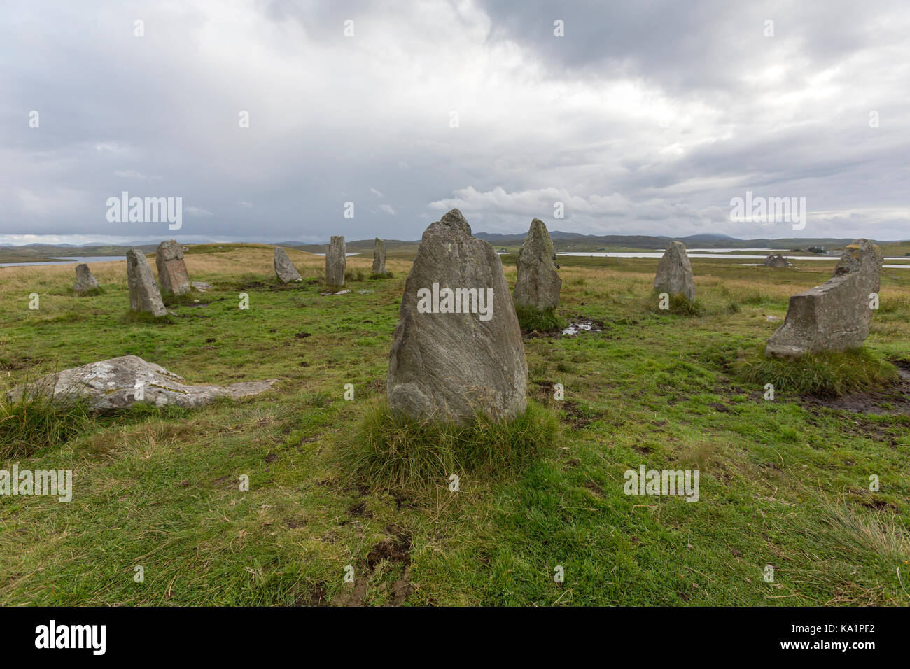 Callanish III,  stone circle , megalithic structures around the better-known (and larger) Calanais I,  Isle of Lewis, - Stock Image