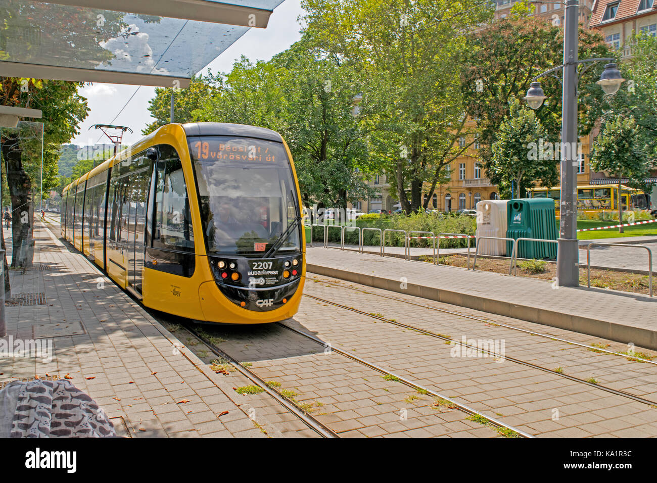 Yellow Tram in Budapest Hungry Stock Photo