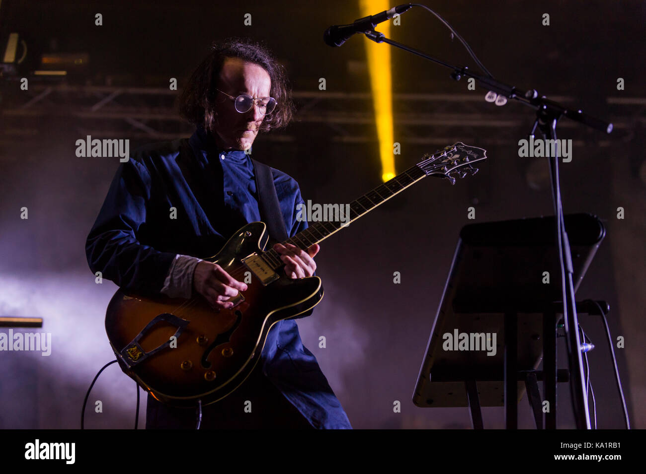 Thornhill, Scotland, UK - September 1, 2017: Andy Monaghan of Scottish indie rock band Frightened Rabbit headlining - Stock Image