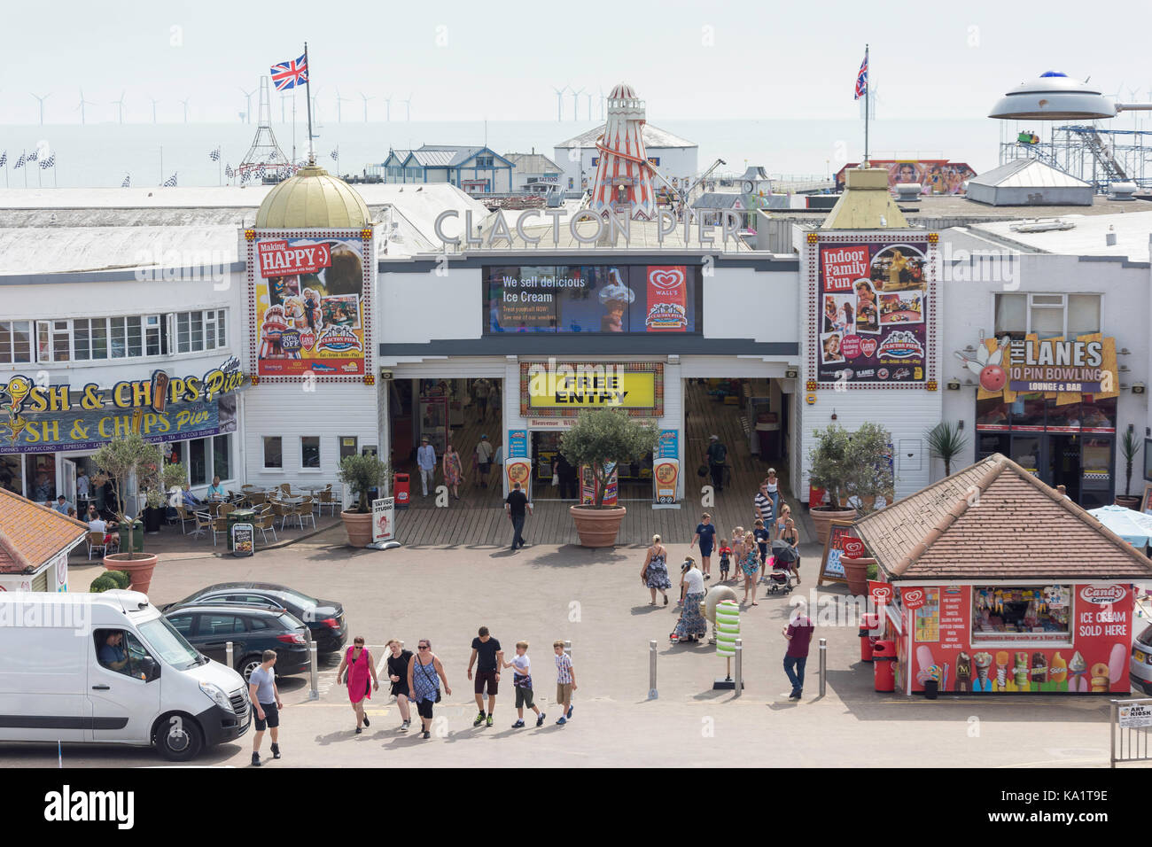 Entrance to Clacton Pier, Clacton-on-Sea, Essex, England, United Kingdom - Stock Image