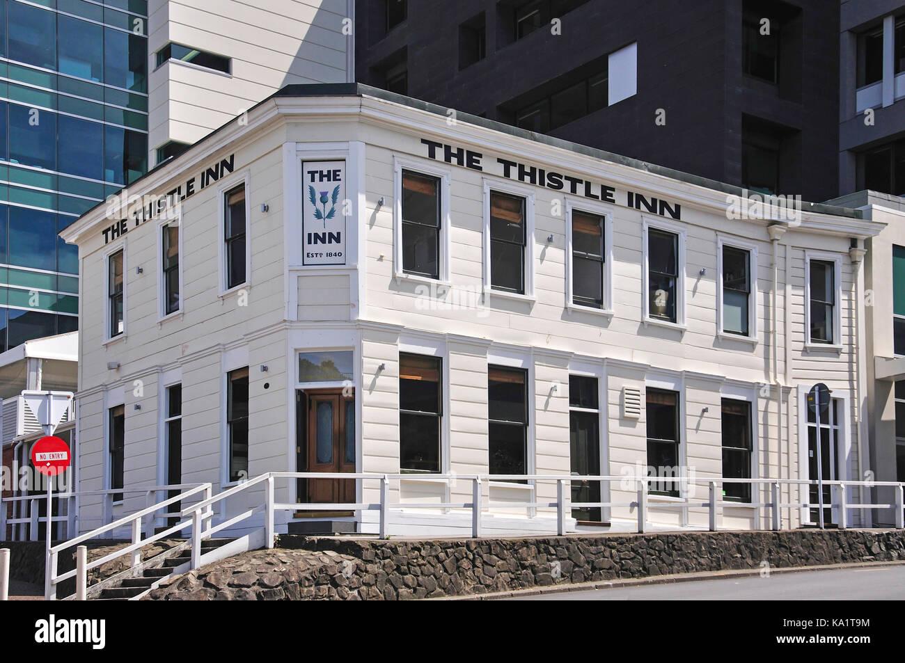 The historic Thistle Inn(1820), Mulgrave Street, Thorndon, Wellington, Wellington Region, North Island, New Zealand - Stock Image