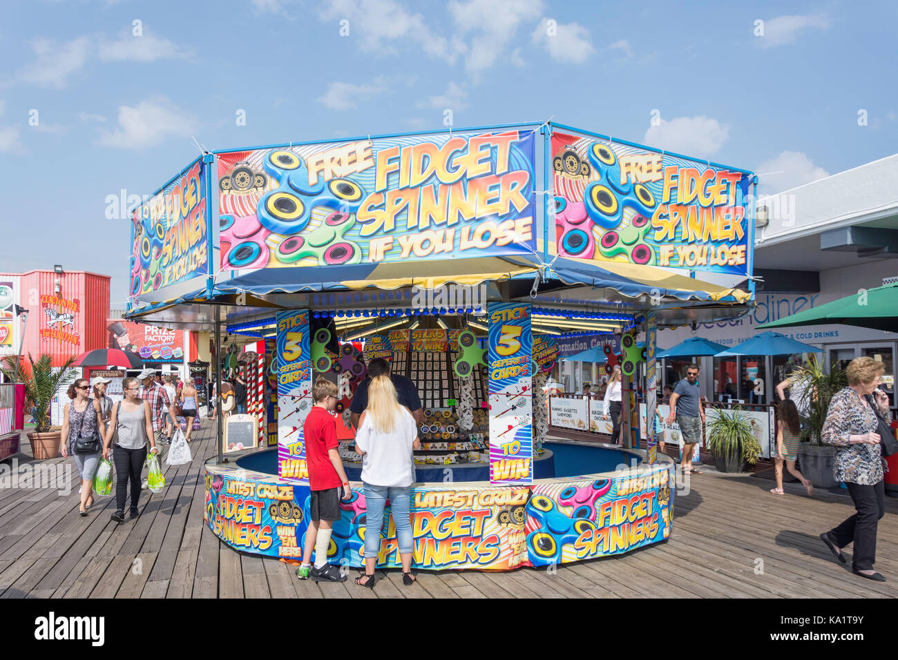 Fidget Spinner game stall on Clacton Pier, Clacton-on-Sea, Essex, England, United Kingdom - Stock Image
