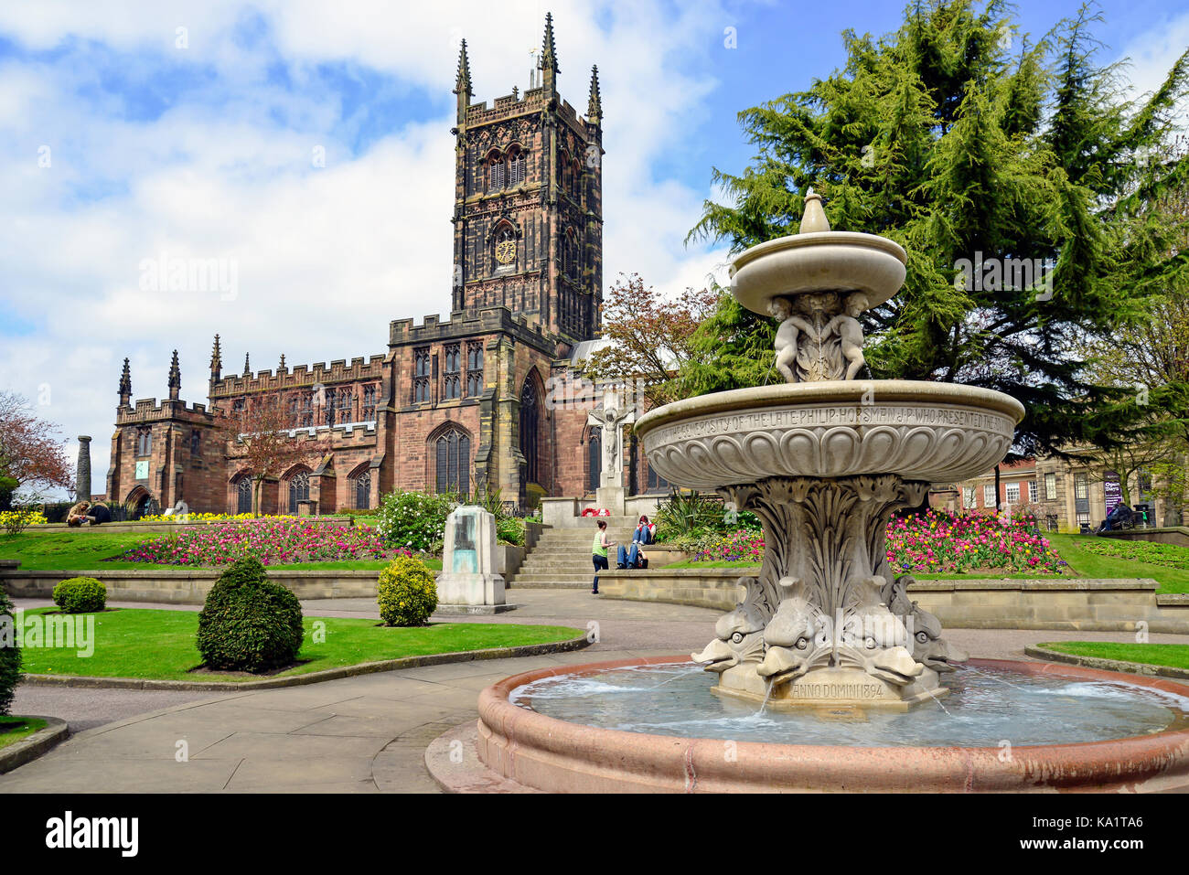 St Peter's Collegiate Church and gardens, Wolverhampton, West Midlands, England, United Kingdom - Stock Image