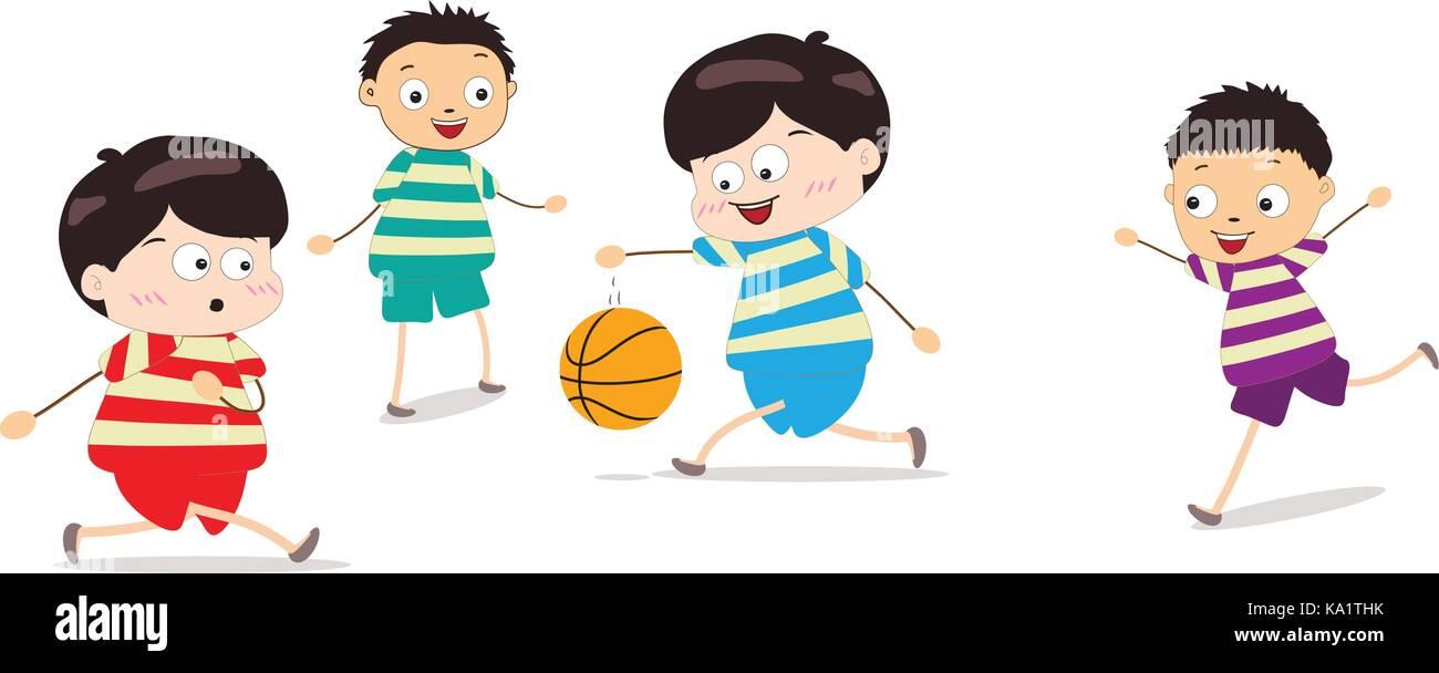 Little Kids Playing Basketball - Stock Image