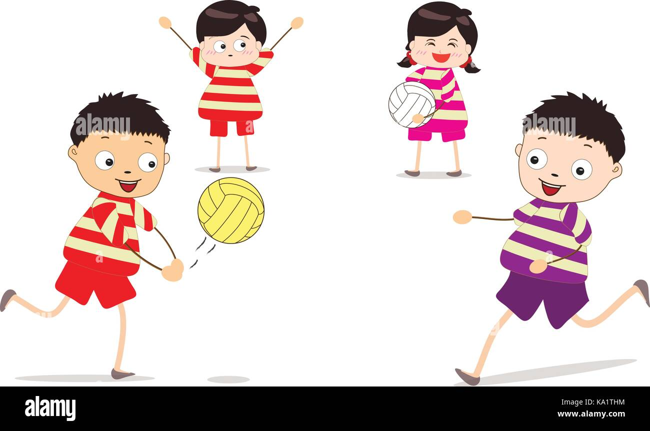 Little children playing volleyball - Stock Image