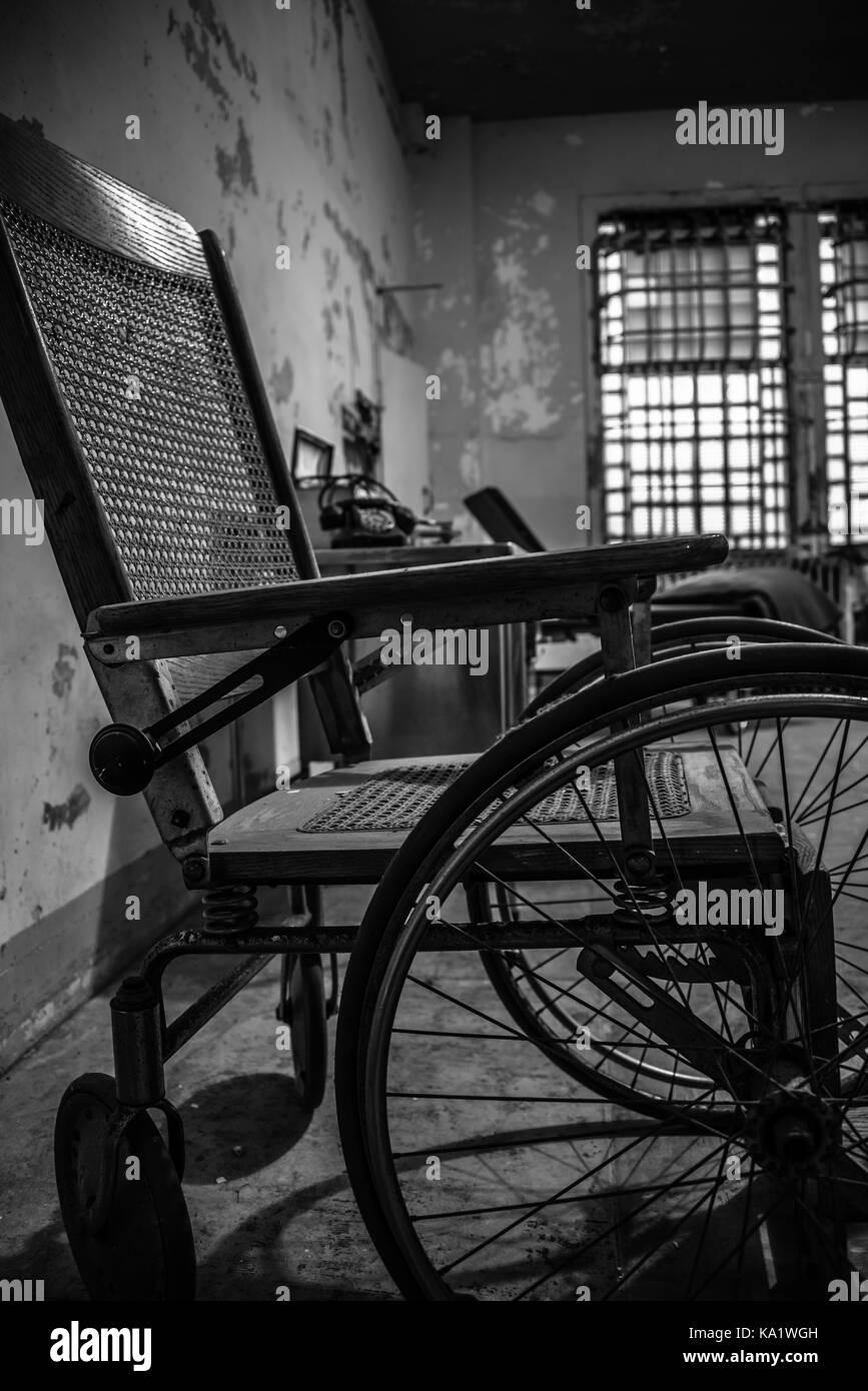 Antique wheelchair in hospital, Alcatraz Island, San Francisco Bay - Antique Wheelchair In Hospital, Alcatraz Island, San Francisco Bay