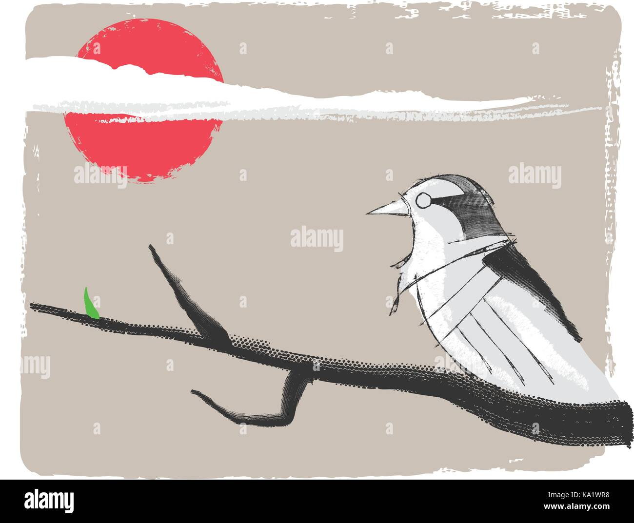 Hand drawn vector illustration or watercolor ink drawing of a bird on a branch in oriental style with sketch look - Stock Image