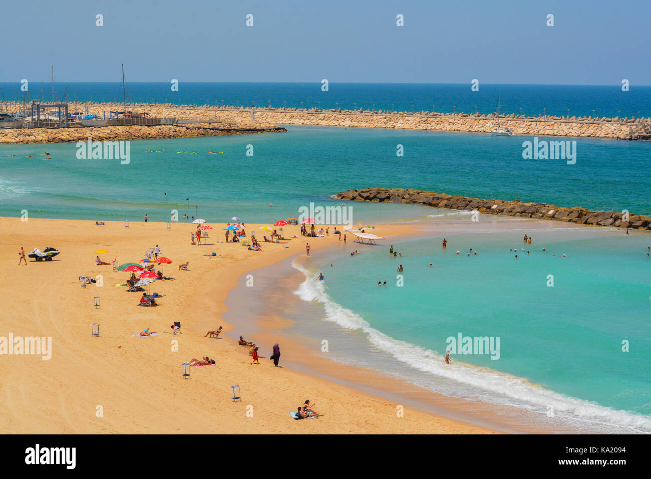 The Mediterranean beach in Ashkelon, Israel Stock Photo