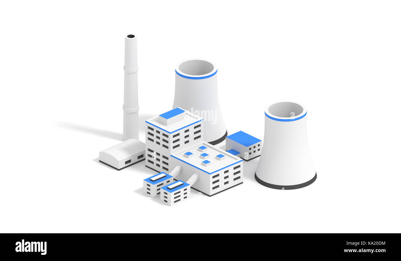 Small nuclear power plant isolated on the white background. 3D render illustration. - Stock Image