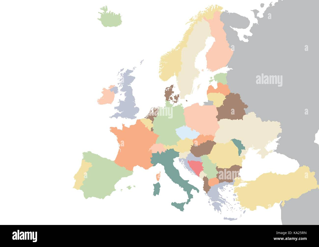 Colorful Europe continent map. Vector illustration - Stock Image