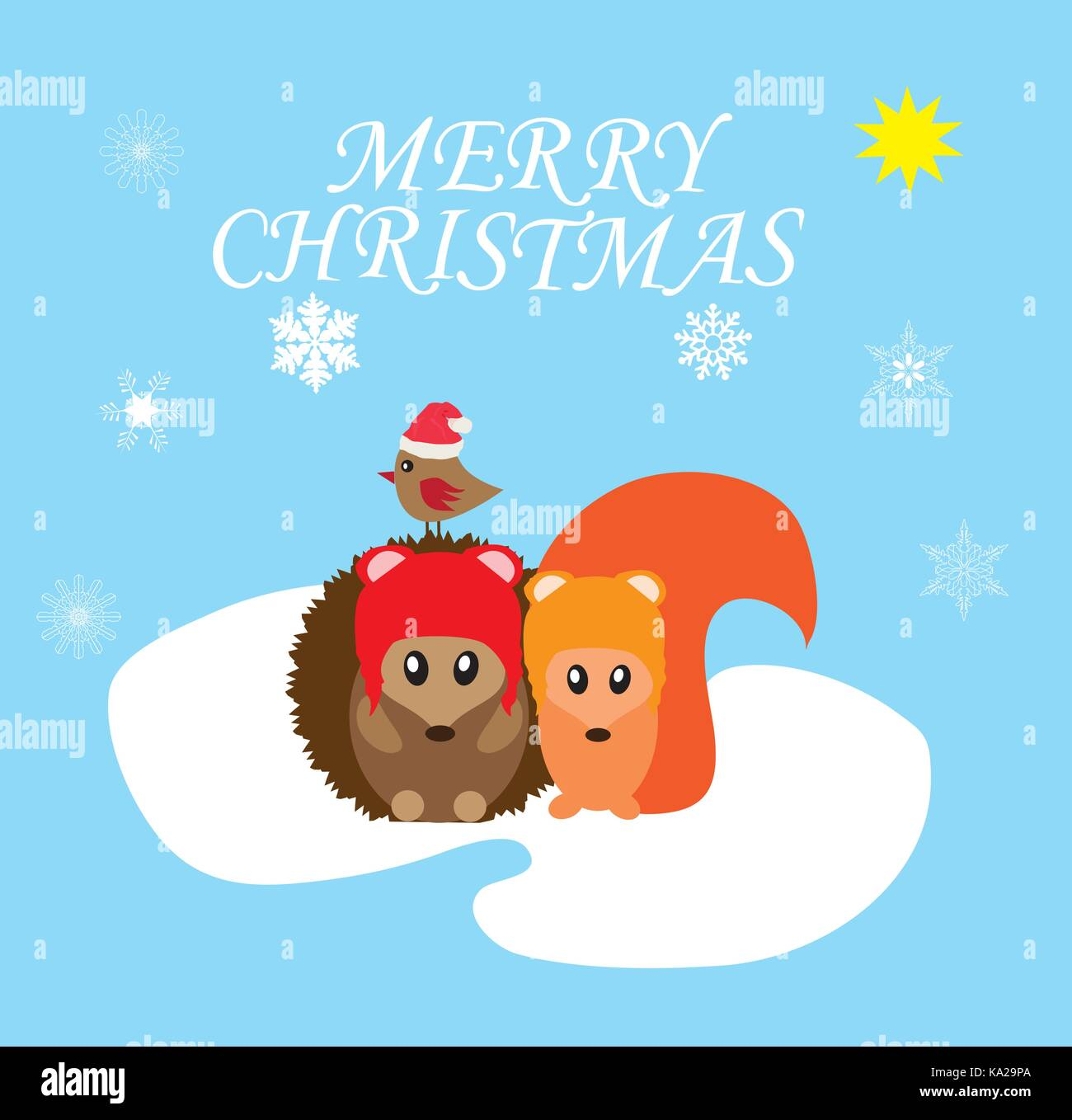 Merry Christmas Animals.Vector Illustration Of Merry Christmas Background With Cute Animals