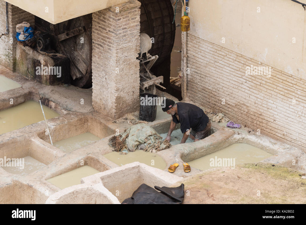Tannery Sidi Moussa in Fes, Morocco - Stock Image