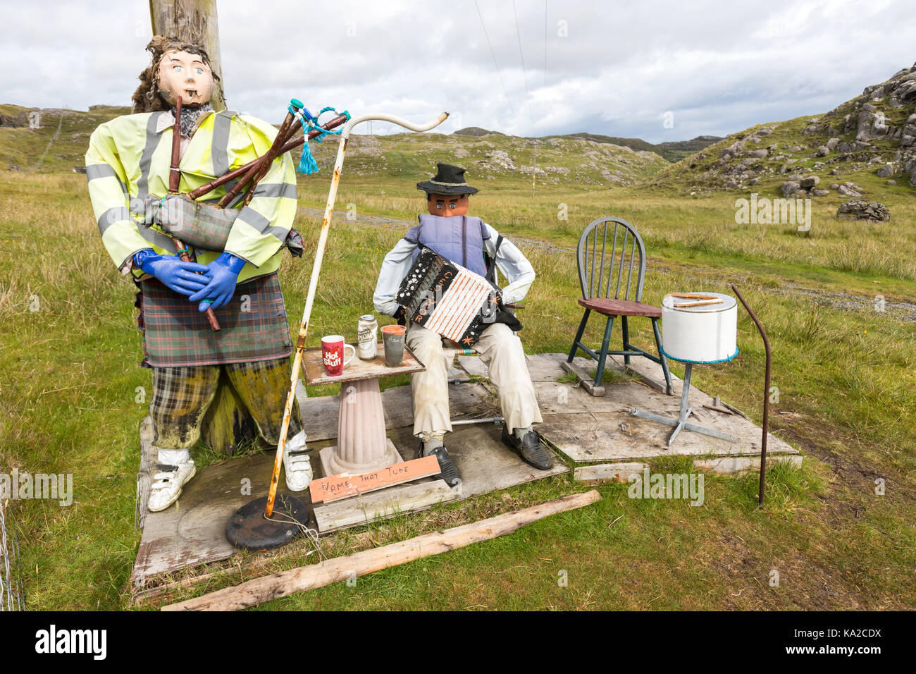 Name that tune musicals dolls with bag pipe and Accordion in Isle of Lewis, Outer Hebrides, Scotland, UK - Stock Image