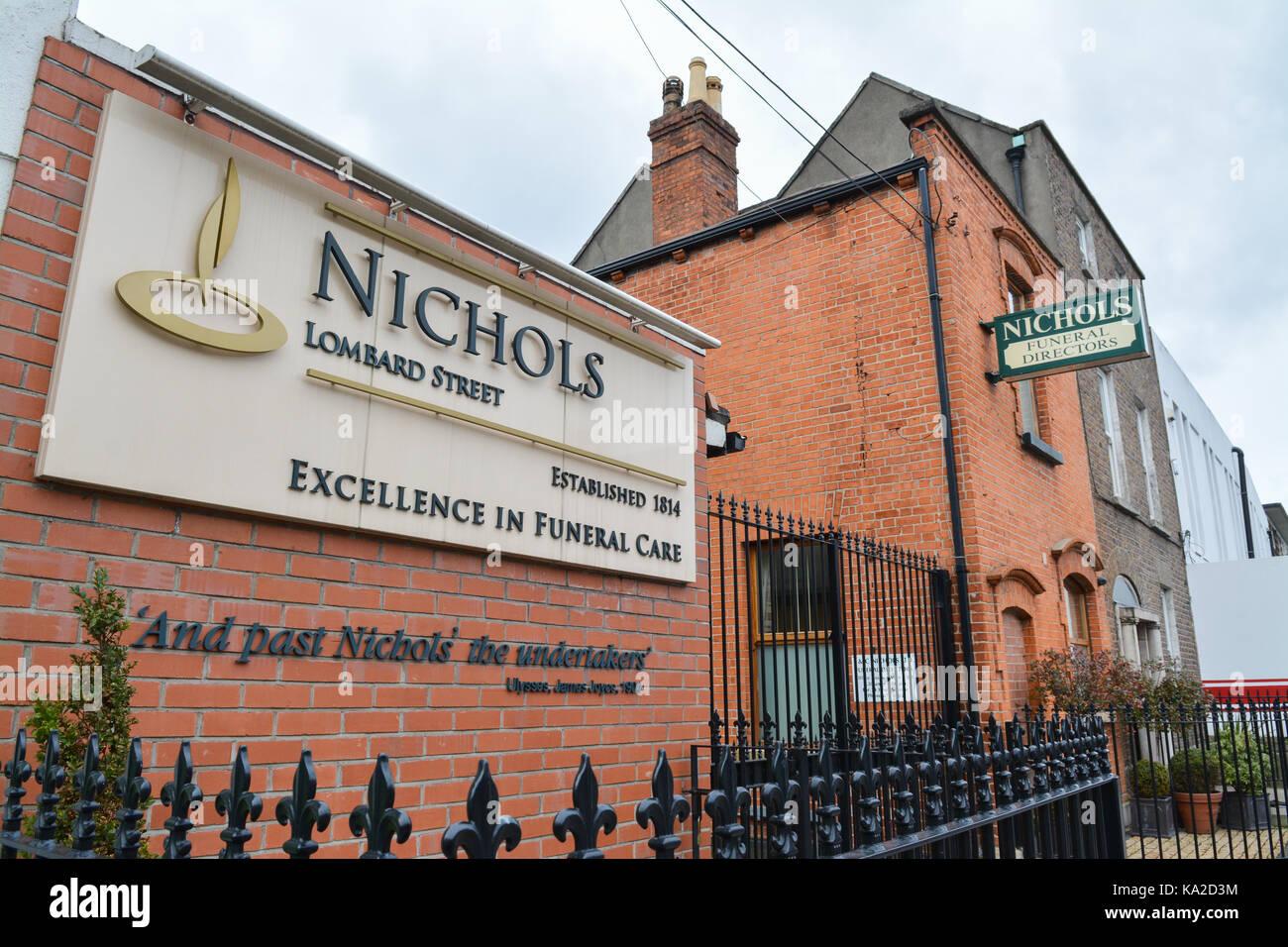 Nichols funeral directors, Dublin, Ireland - Stock Image