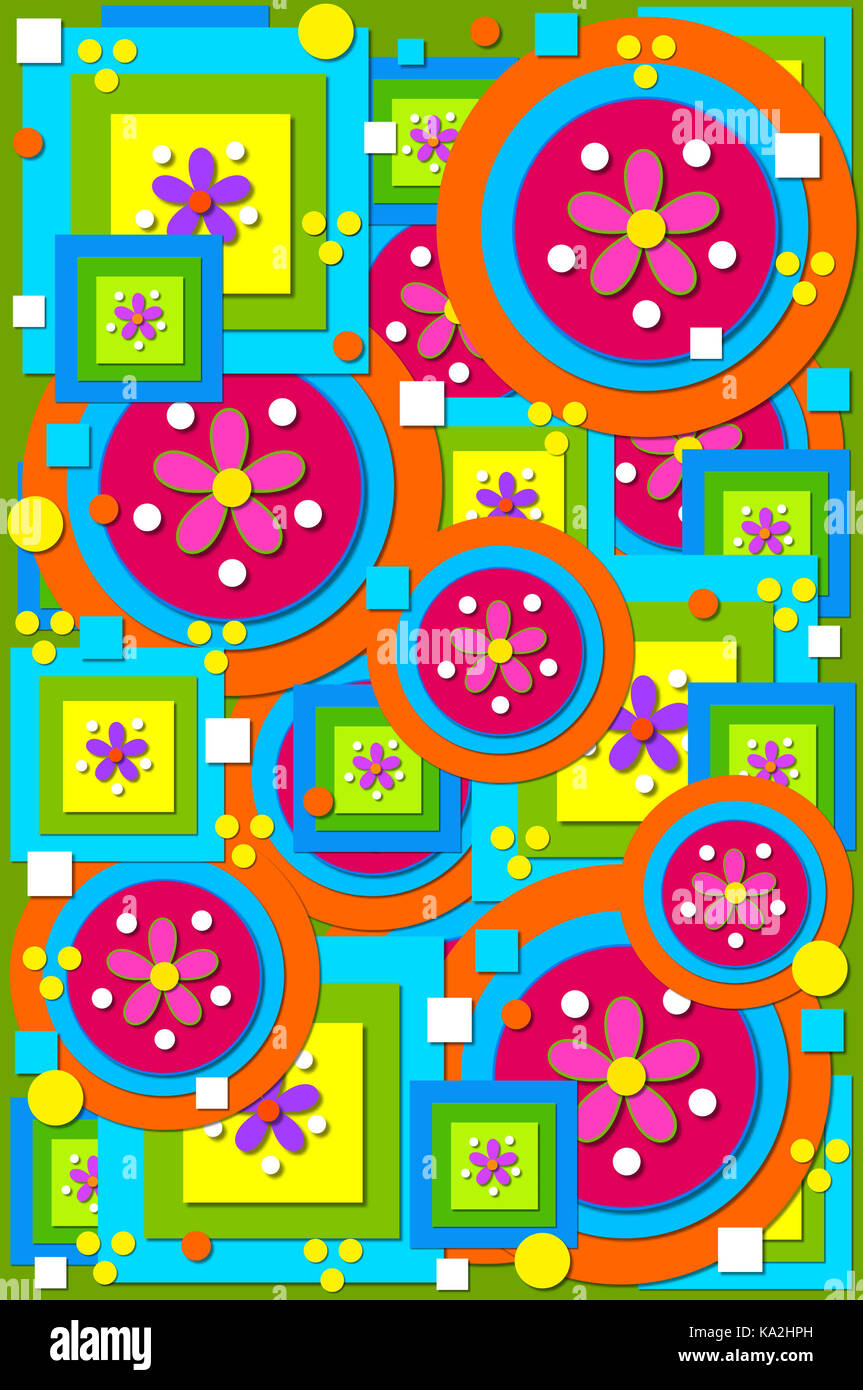 Geometric shapes of circles, squares fill background image.  Cool colors of green, blue, pink and orange are layered - Stock Image
