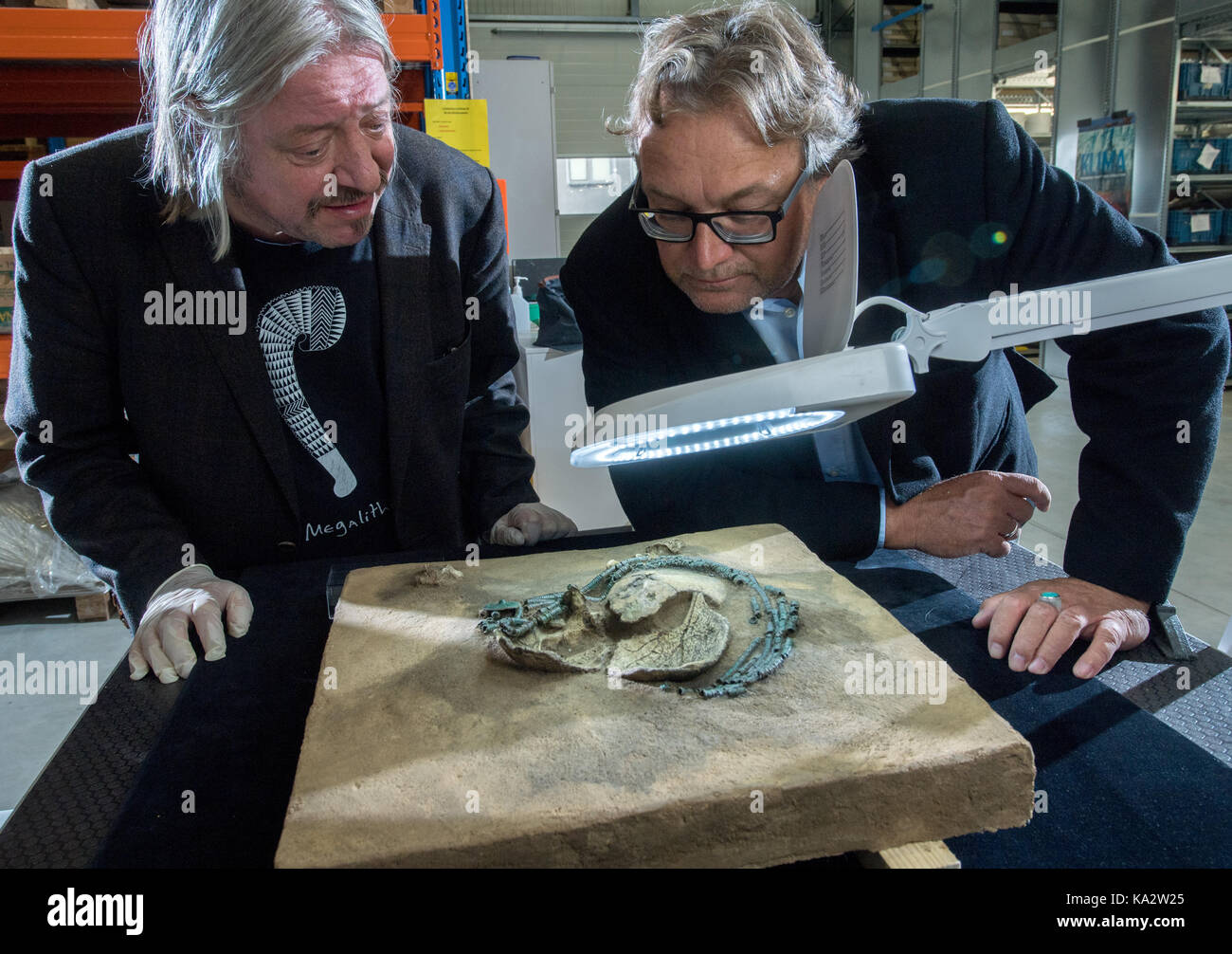 The archaeologist and curator of the Danish National Museum Copenhagen, Flemming Kaul (L), and the state's archaelogist Stock Photo