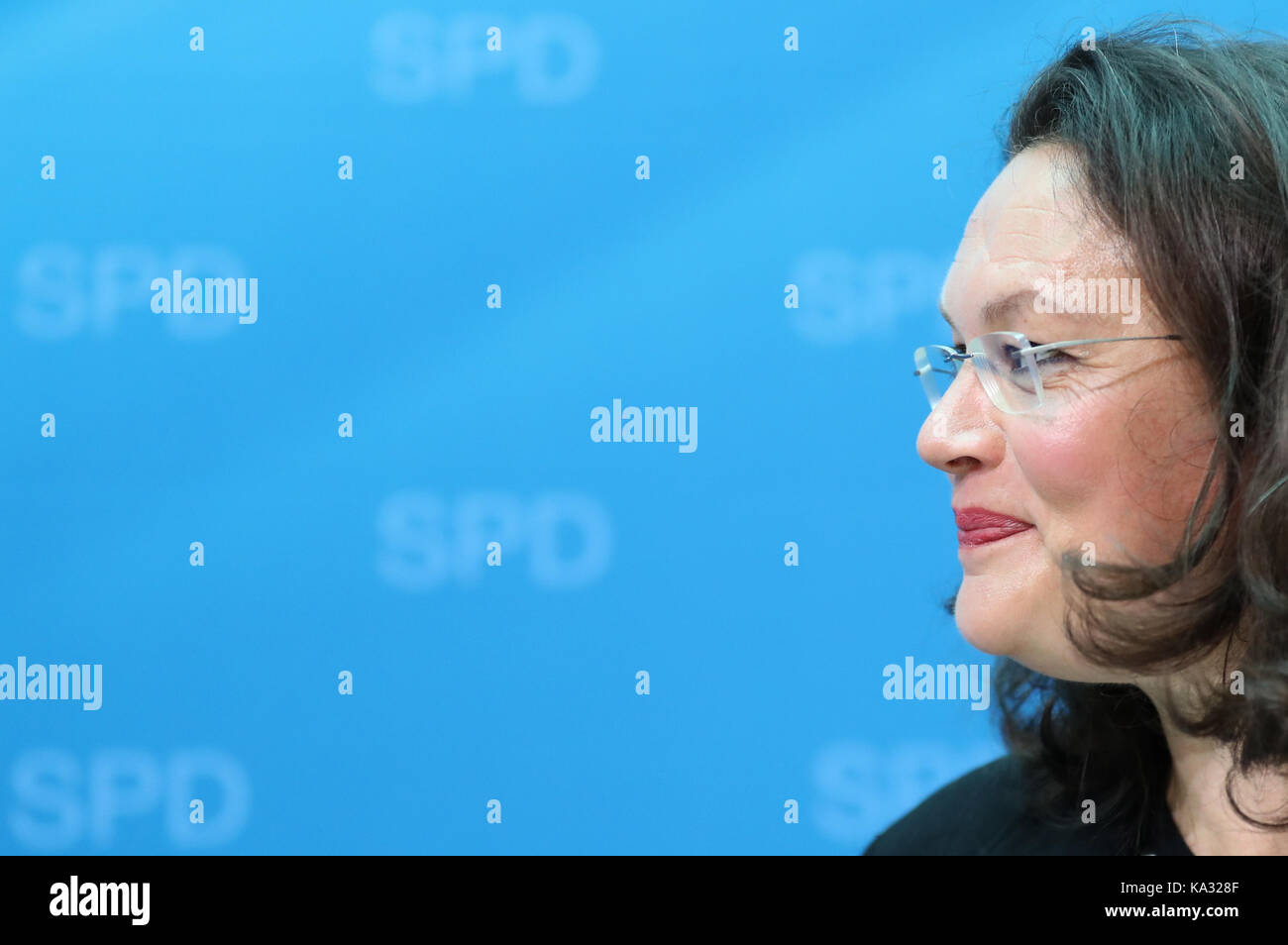 Berlin, Germany. 25th Sep, 2017. Andrea Nahles (SPD), the German labour minister, in the Willy Brandt House, the - Stock Image