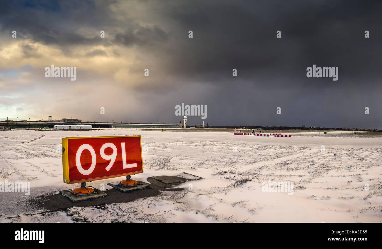 Airport runways covered with snow at Tempelhofer Feld. - Stock Image