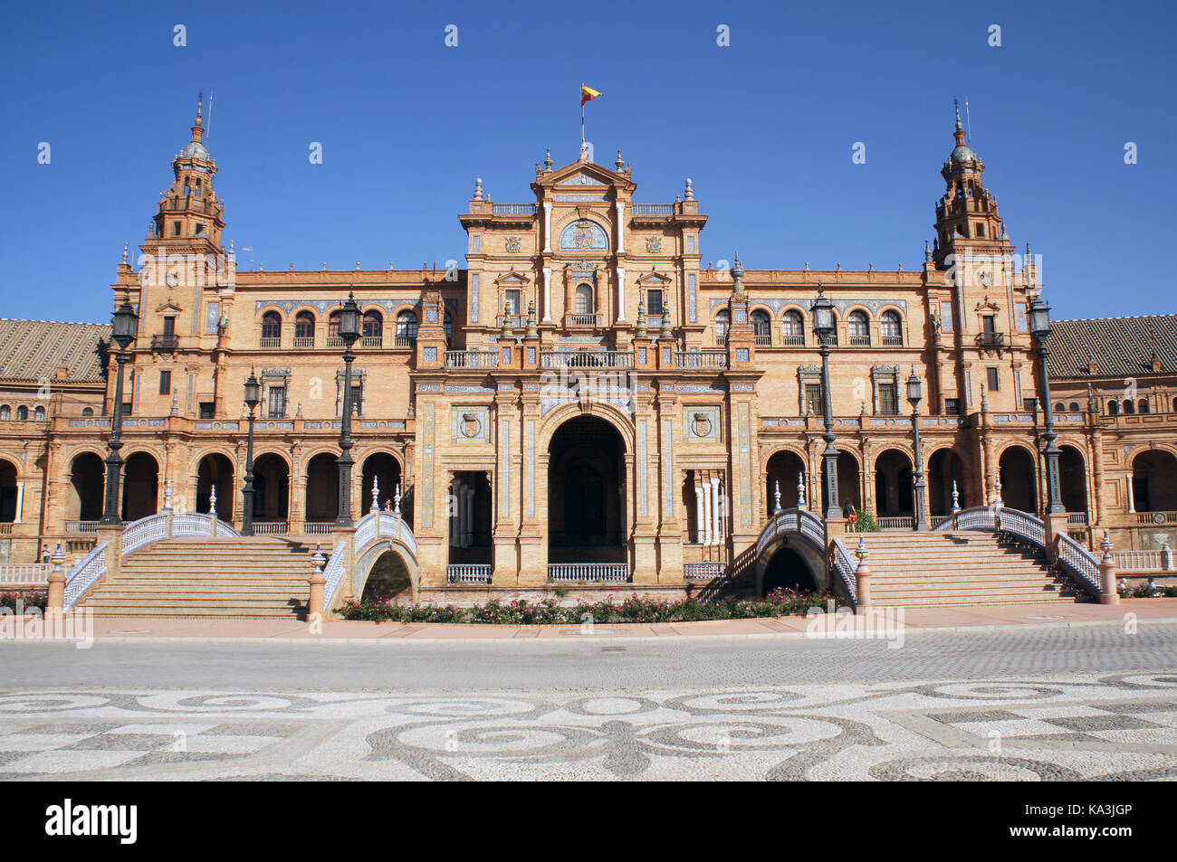 Plaza de Espana in Seville, Spain with bridges over the canal. Example of Moorish and Renaissance revival. - Stock Image