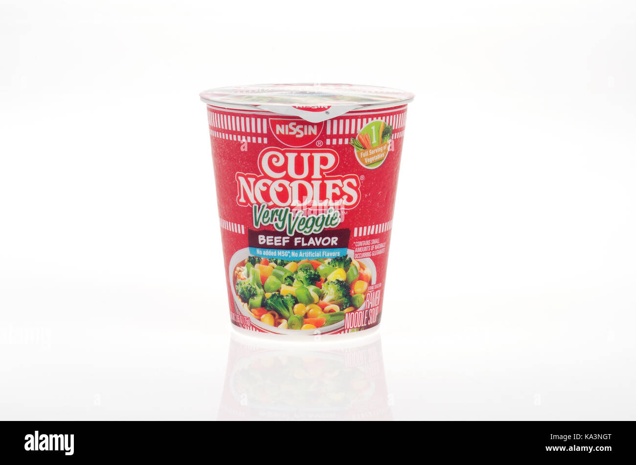 Nissin Cup of Noodles Very Veggie Beef flavor on white background cut out USA - Stock Image
