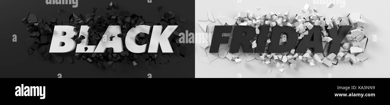 black friday header with text and exploding background. 3d illustration. suitable for any blackfriday theme. - Stock Image