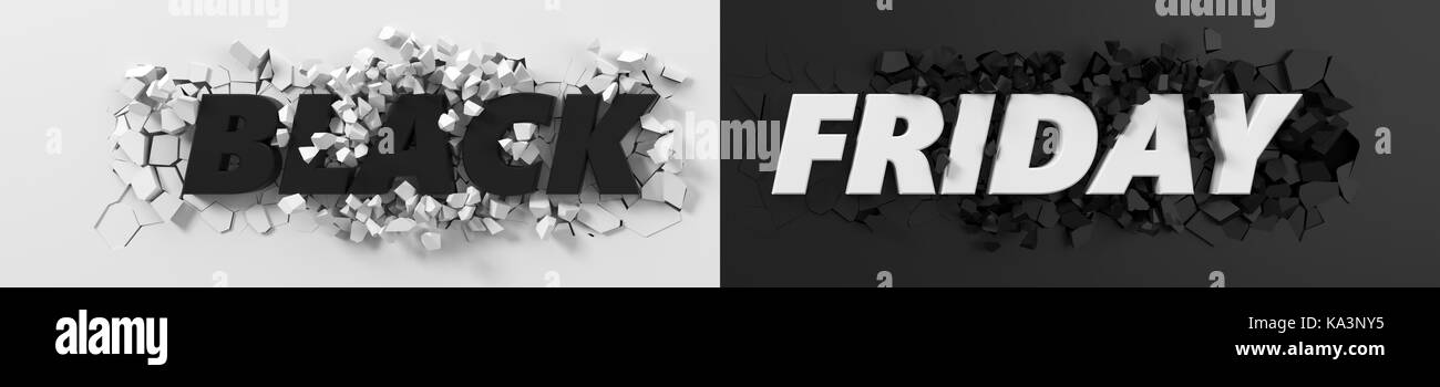 black friday header with text and exploding background. 3d illustration. suitable for any blackfriday theme. Stock Photo
