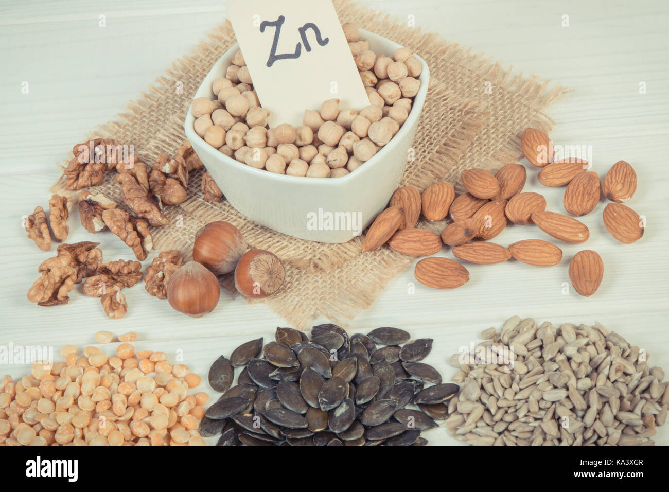 Vintage photo, Inscription Zn, Ingredients or products containing zinc and dietary fiber on white board, natural - Stock Image