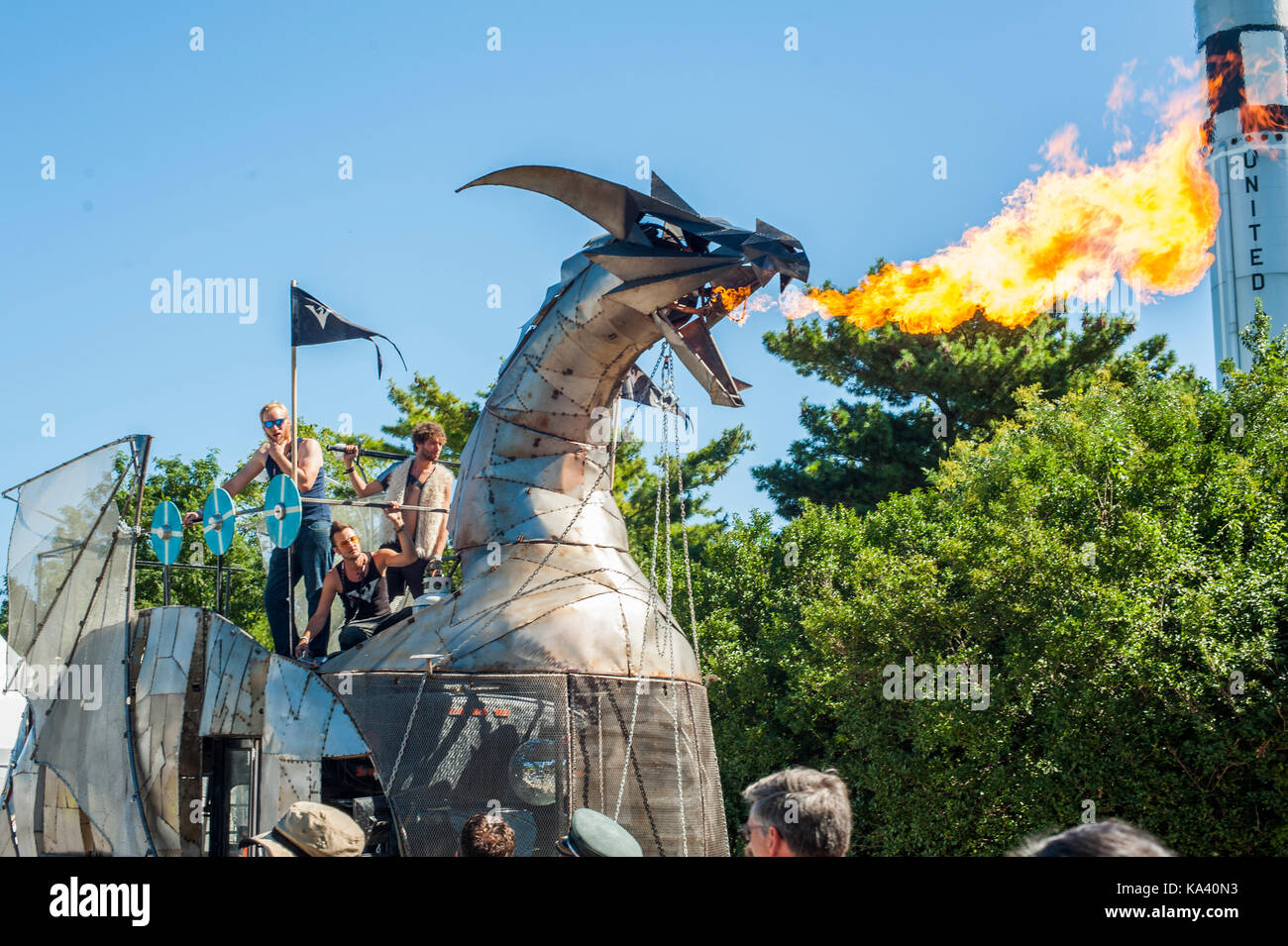 QUEENS, NEW YORK - SEPTEMBER 23:Members of the Toronto based Heavy Meta crew with the group's fire breathing - Stock Image