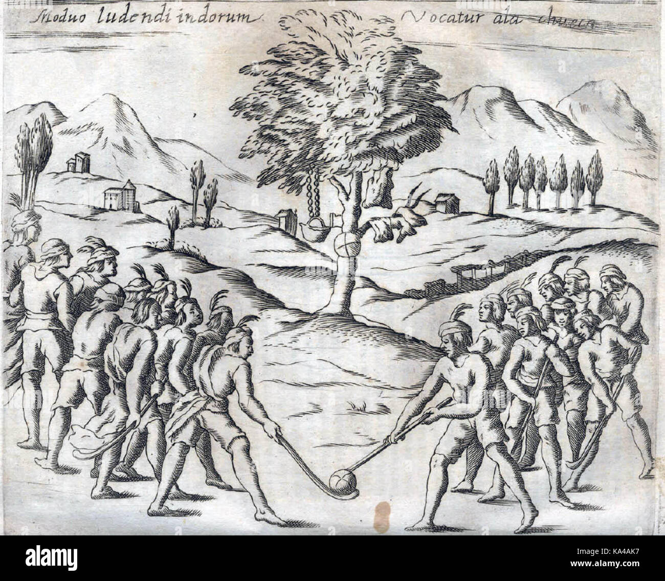 Native Mapuches playing palín, shown in Histórica Relación del Reino de Chile by Alonso de Ovalle, - Stock Image