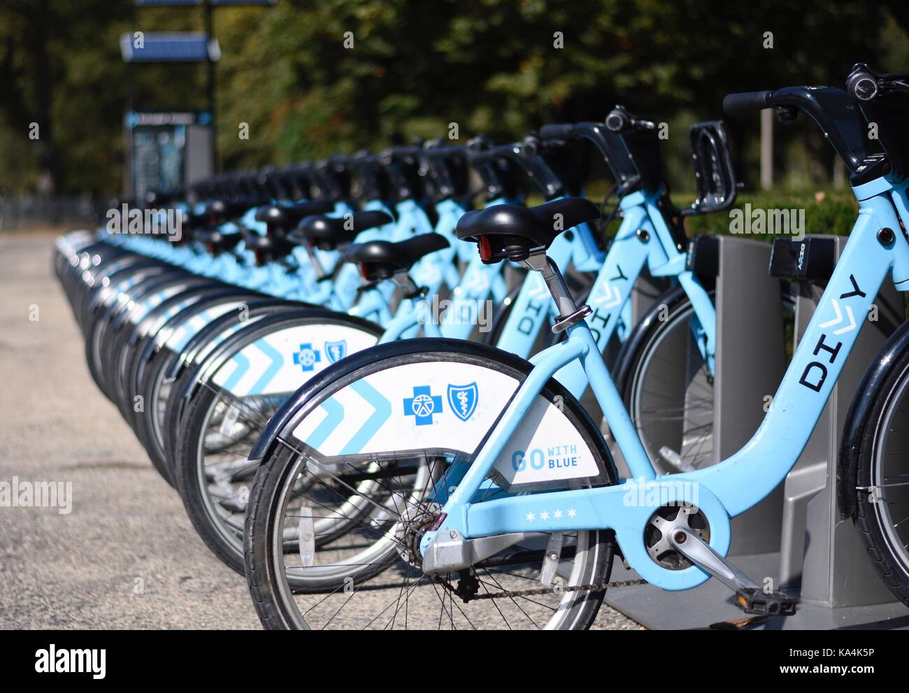 Rental Bikes in city of Chicago - Stock Image