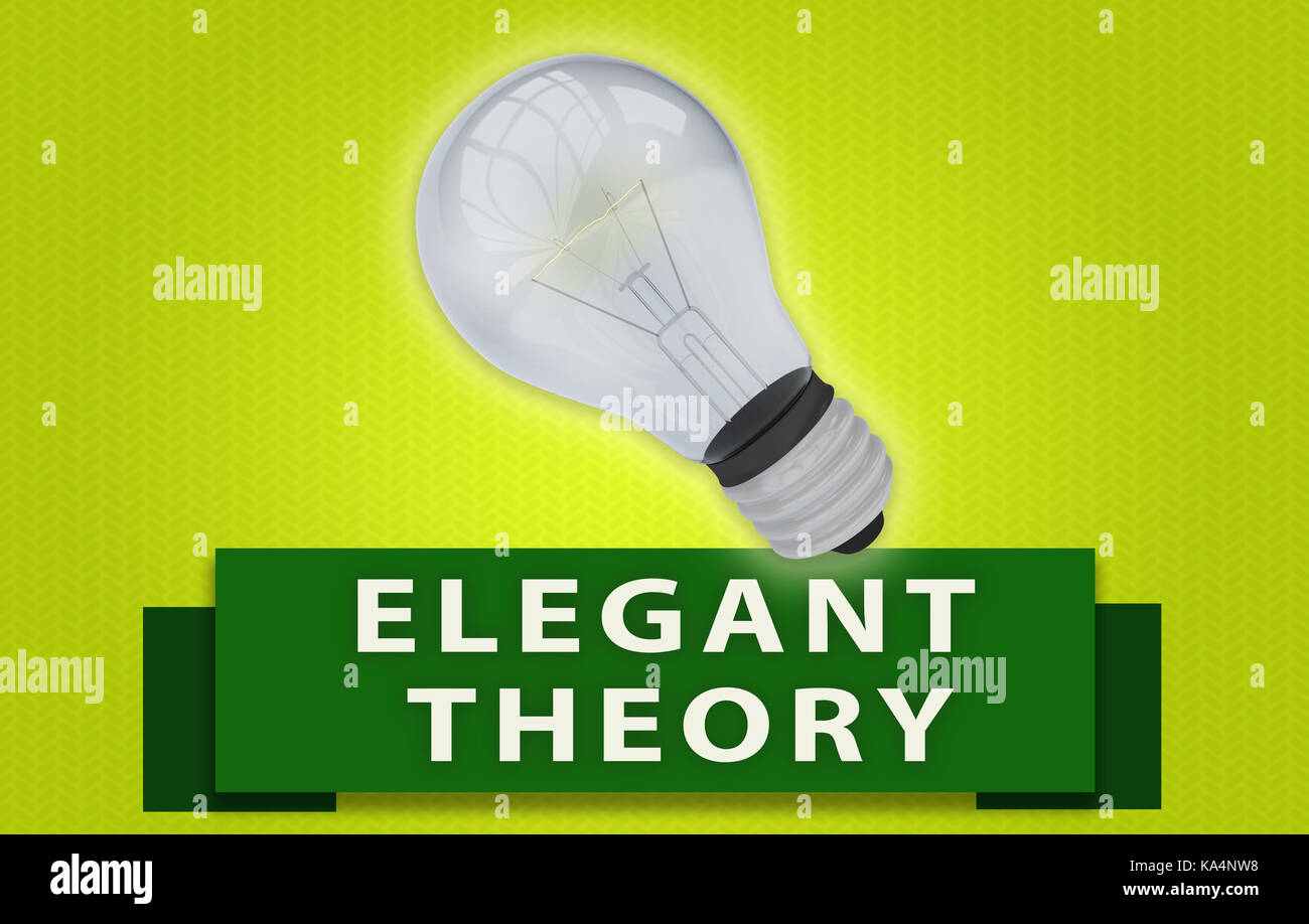 Colorful ELEGANT THEORY concept with green text banner and 3d rendered domestic light bulb, isolated with a glow - Stock Image