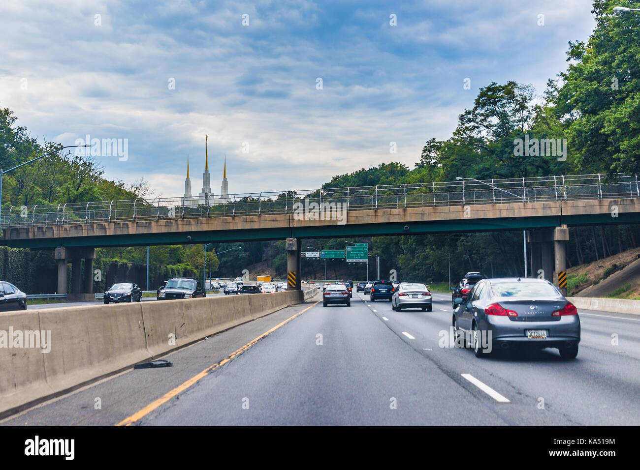 Kensington, USA - September 16, 2017: Highway with Church of Jesus Christ of Latter-day Saints Mormon Temple in Stock Photo