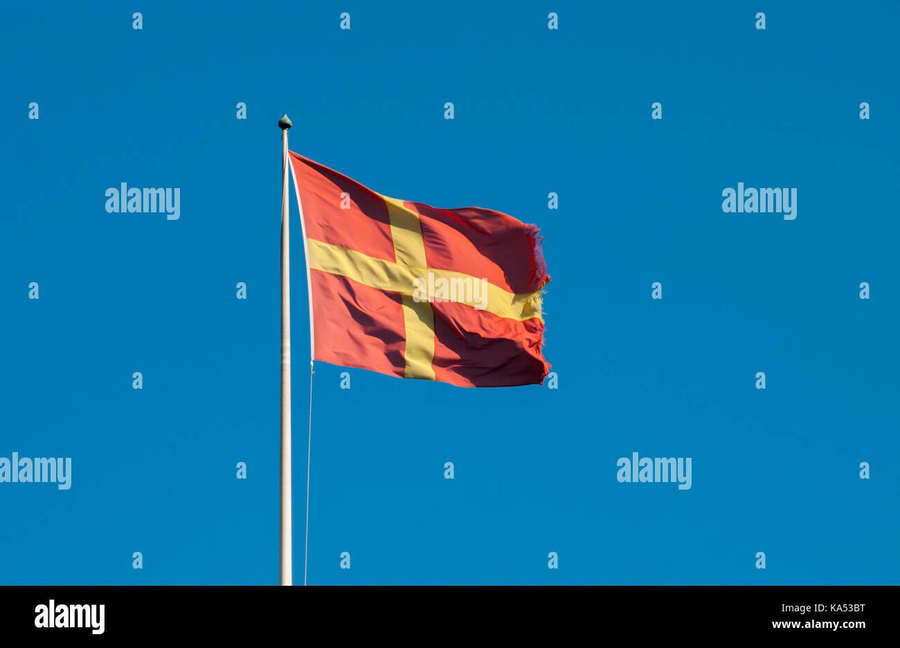 Skåne's landscape flag, Sweden. - Stock Image