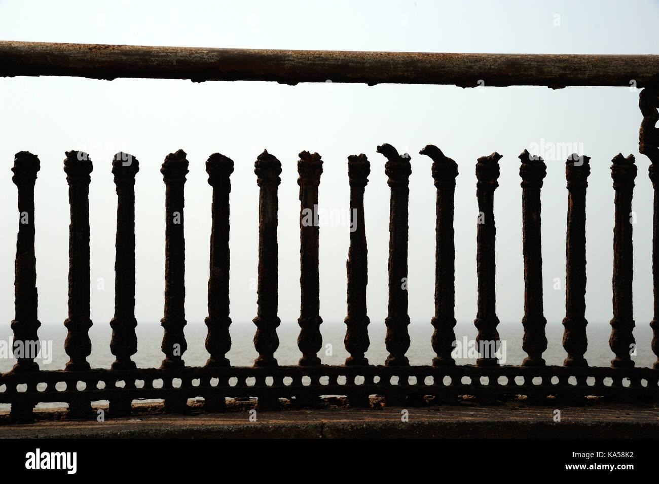 Rusted Iron Handrail Valsad gujarat , India, Asia - RMM 258773 - Stock Image