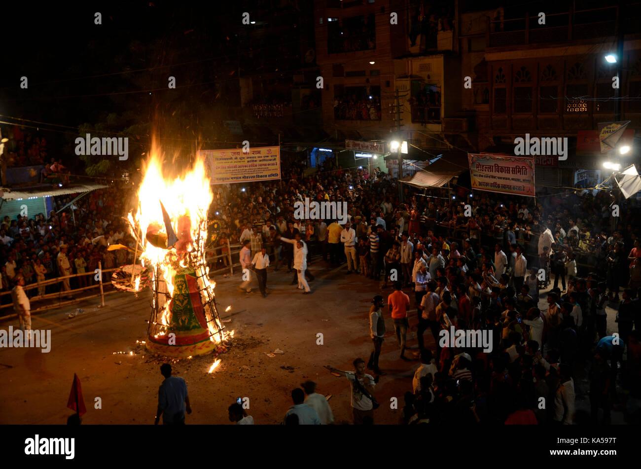 burning ravana effigy Dussehra festival, jodhpur, rajasthan, India, Asia - Stock Image