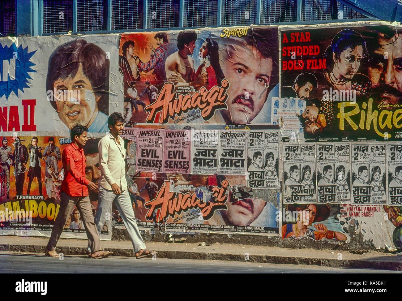movie poster on wall, mumbai, maharashtra, India, Asia - Stock Image